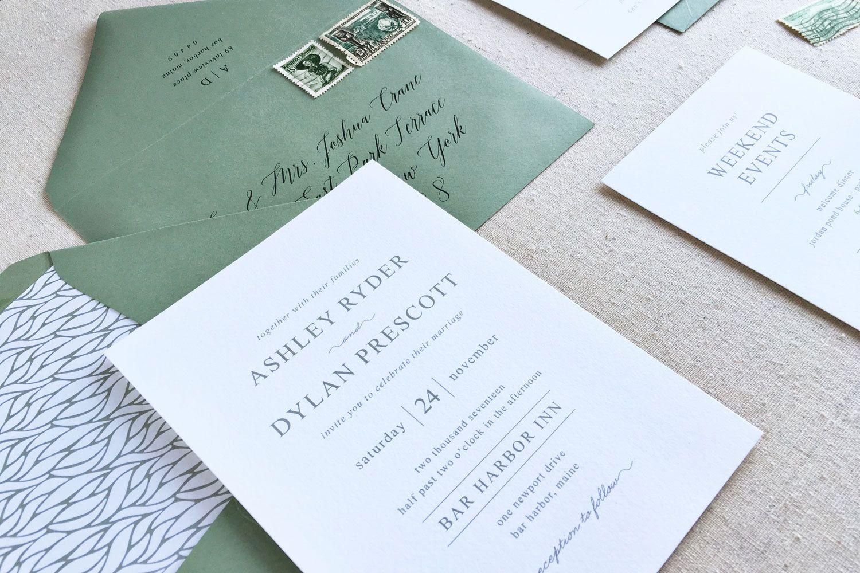 traditional wedding invitation custom letterpress wedding