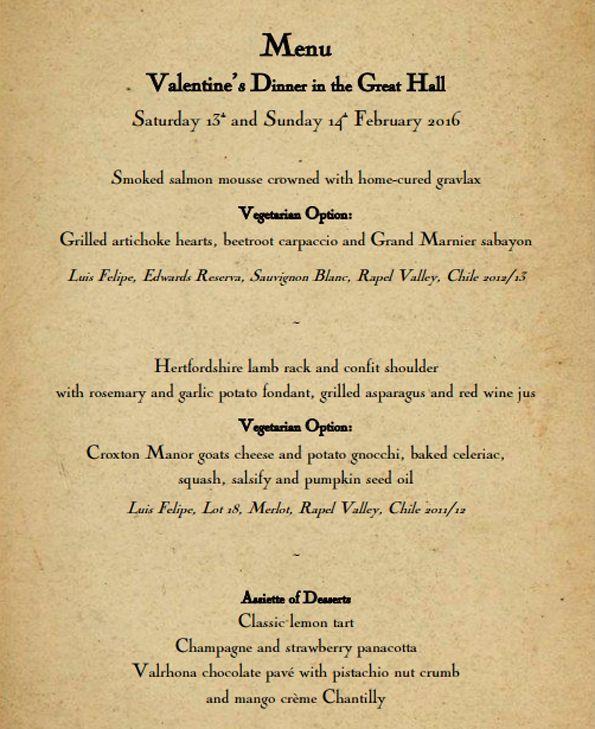 Harry Potter Valentines Dinner Menu