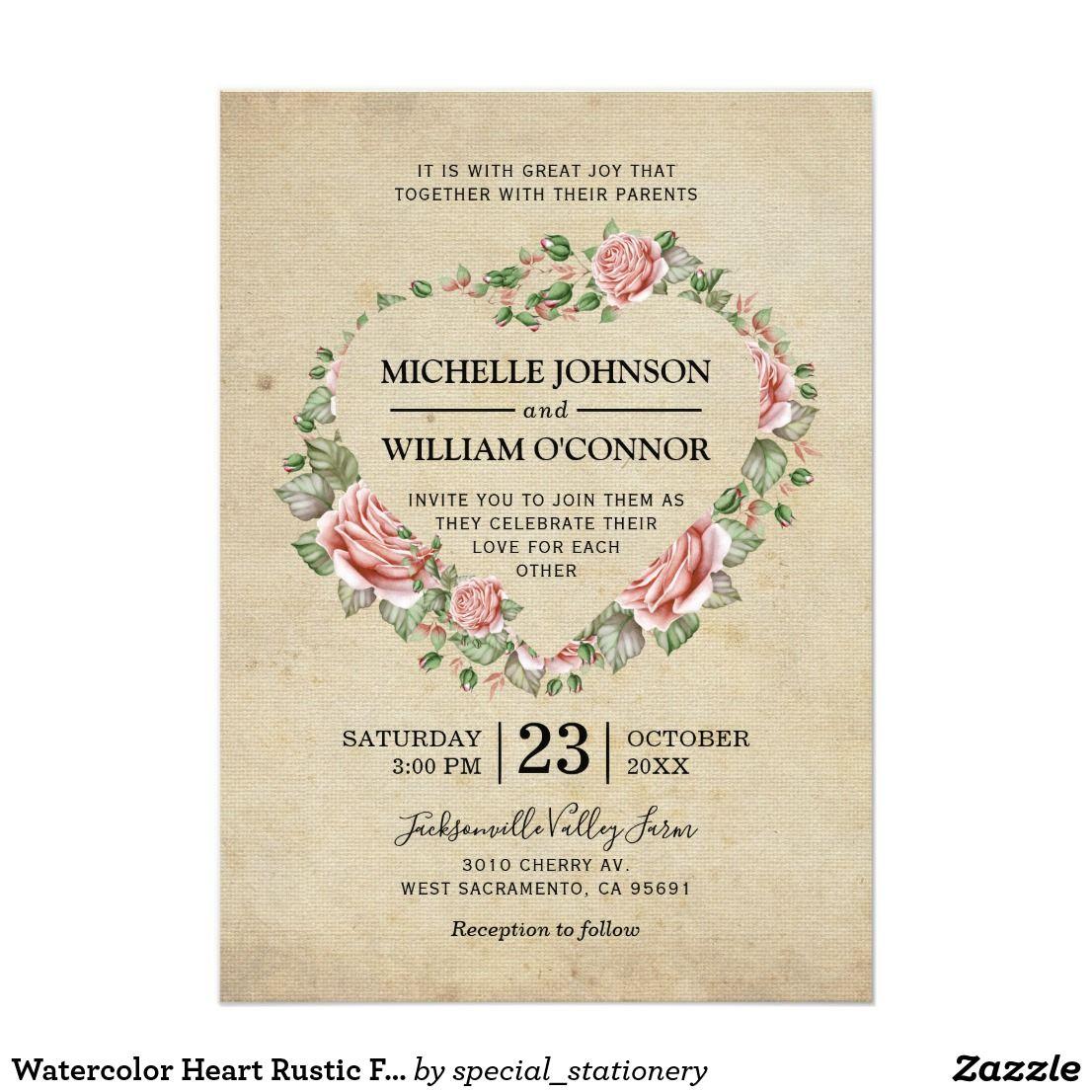 Watercolor Heart Rustic Floral Vintage Wedding Card Rustic rose ...