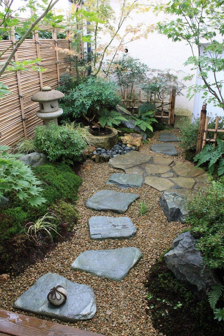 kleiner japanischer garten steine kies landschaft moos bepflanzung ...