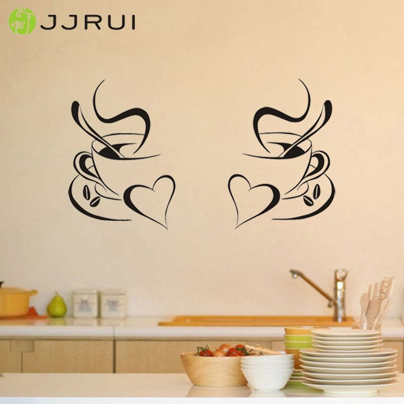 JJRUI 2 Coffee Cups Kitchen Wall Stickers Vinyl Art Decals Cafe