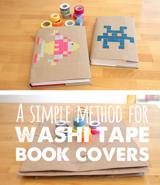 Diy Book Cover ~ Back to school diy washi tape book covers first day of