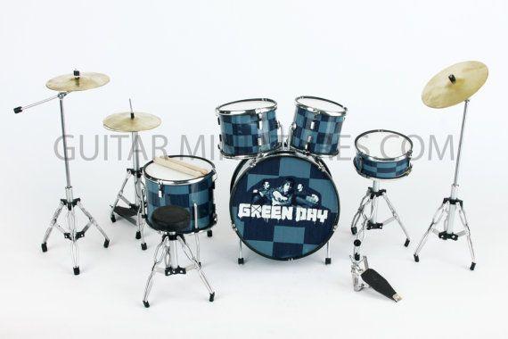 Green Day Miniature Drum Kit Set 323 By Rockmemorabilia On Etsy