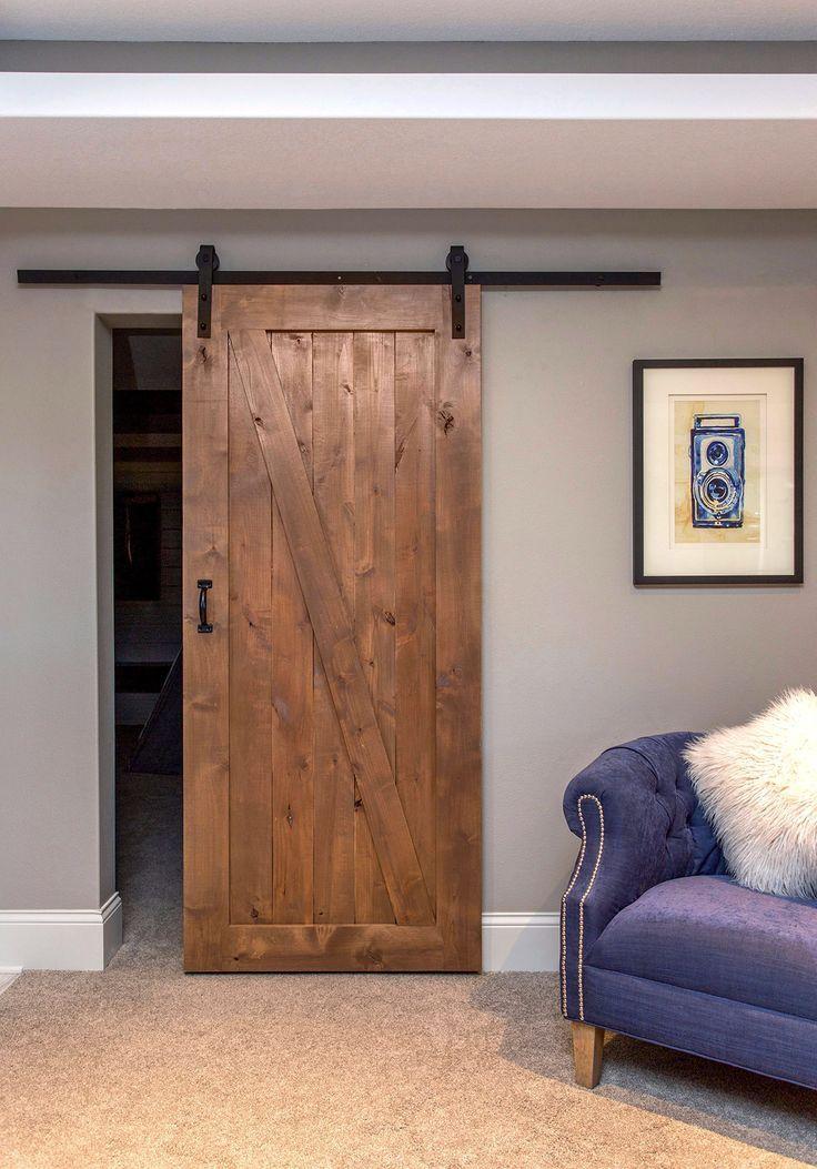 The z panel barn door is a traditional look that blends for Master bedroom closet door ideas