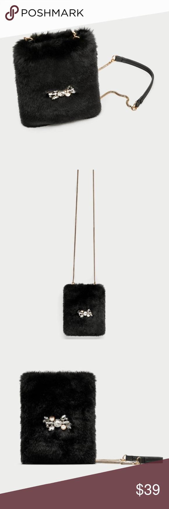 86e8ba0d51bb Mini crossbody with furry detail Black faux fur crossbody bag. Appliqué  Detail on the front