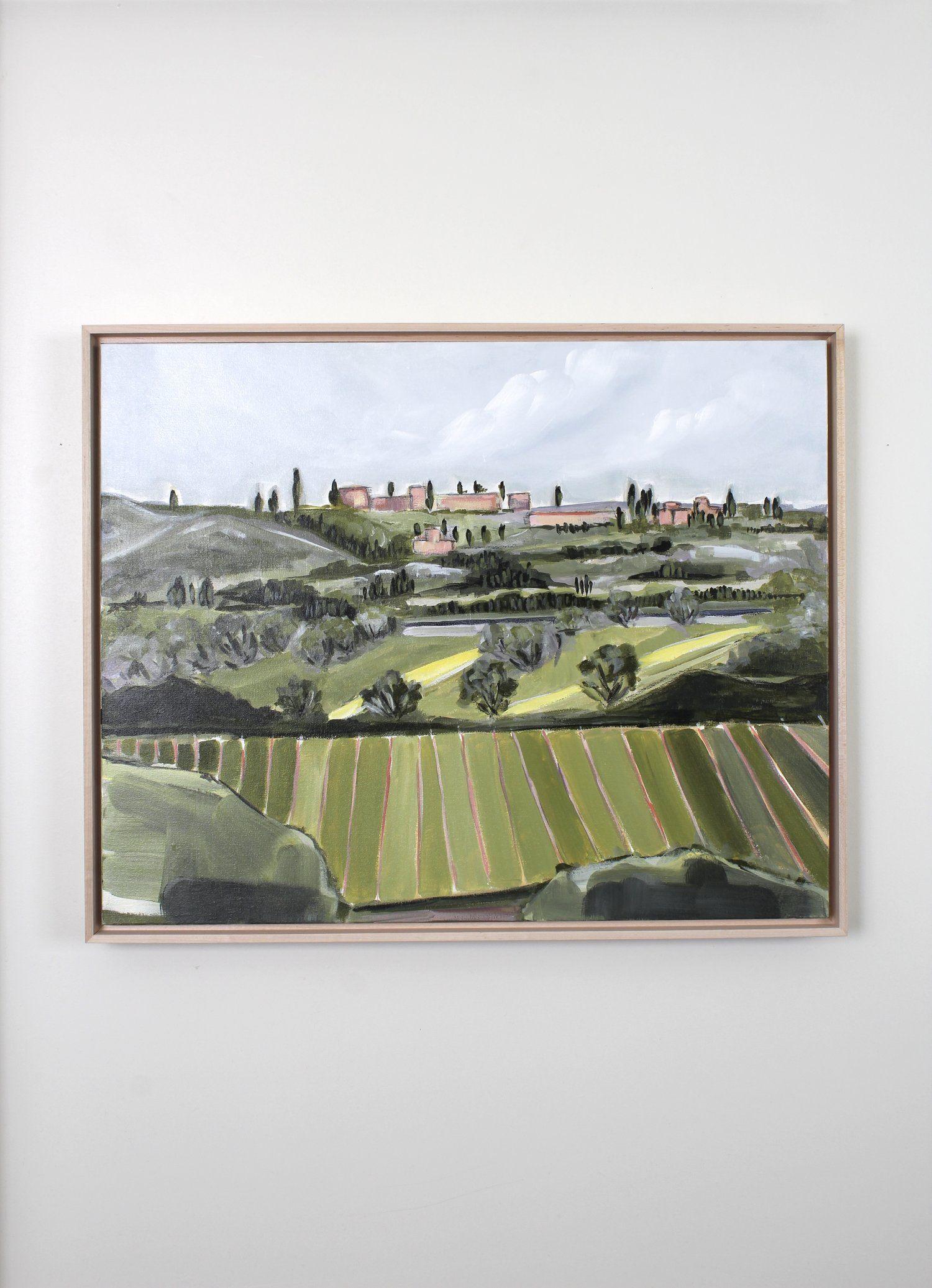 Tuscan Hills No 1 Framed Acrylic Painting 24x30 Original Art Prints Mountain Art Print Original Paintings