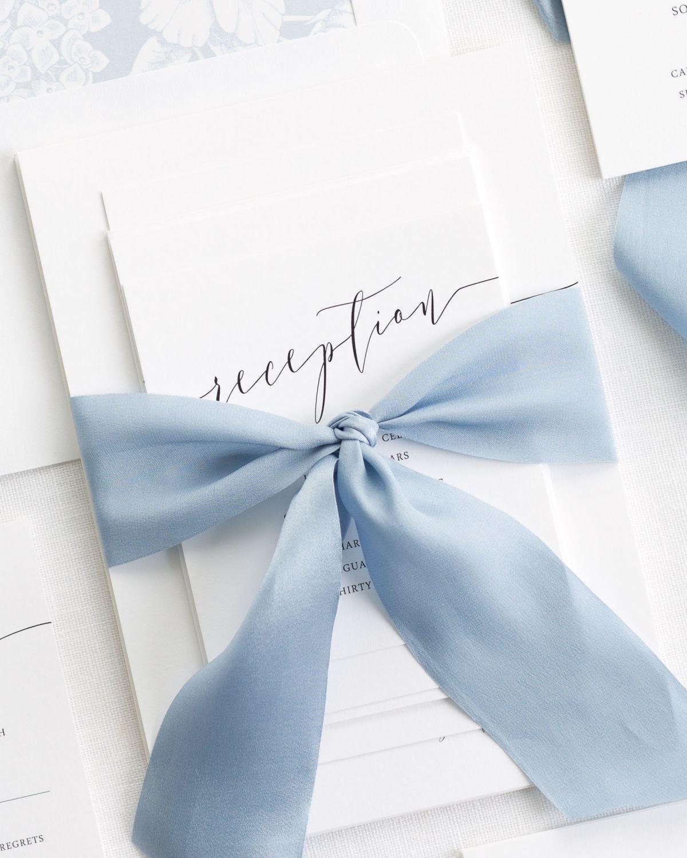 Romantic Calligraphy Ribbon Wedding Invitations | Weddings, Romantic ...
