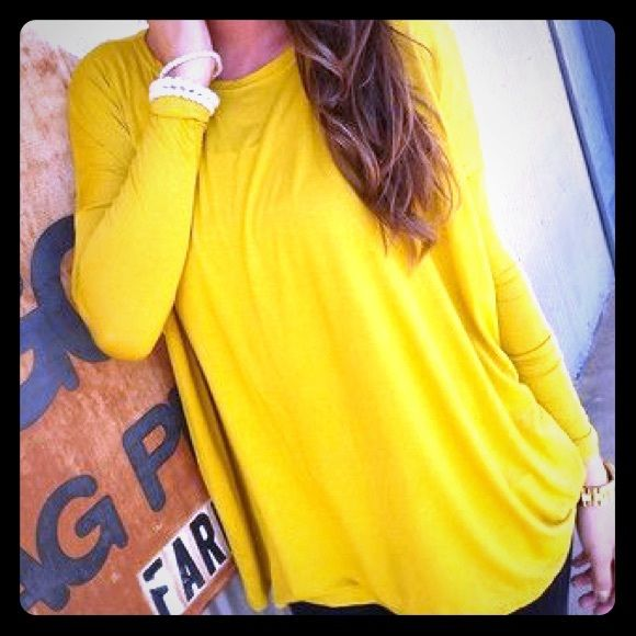 MUSTARD PIKO Perfect condition. Worn once Piko Tops Tees - Long Sleeve