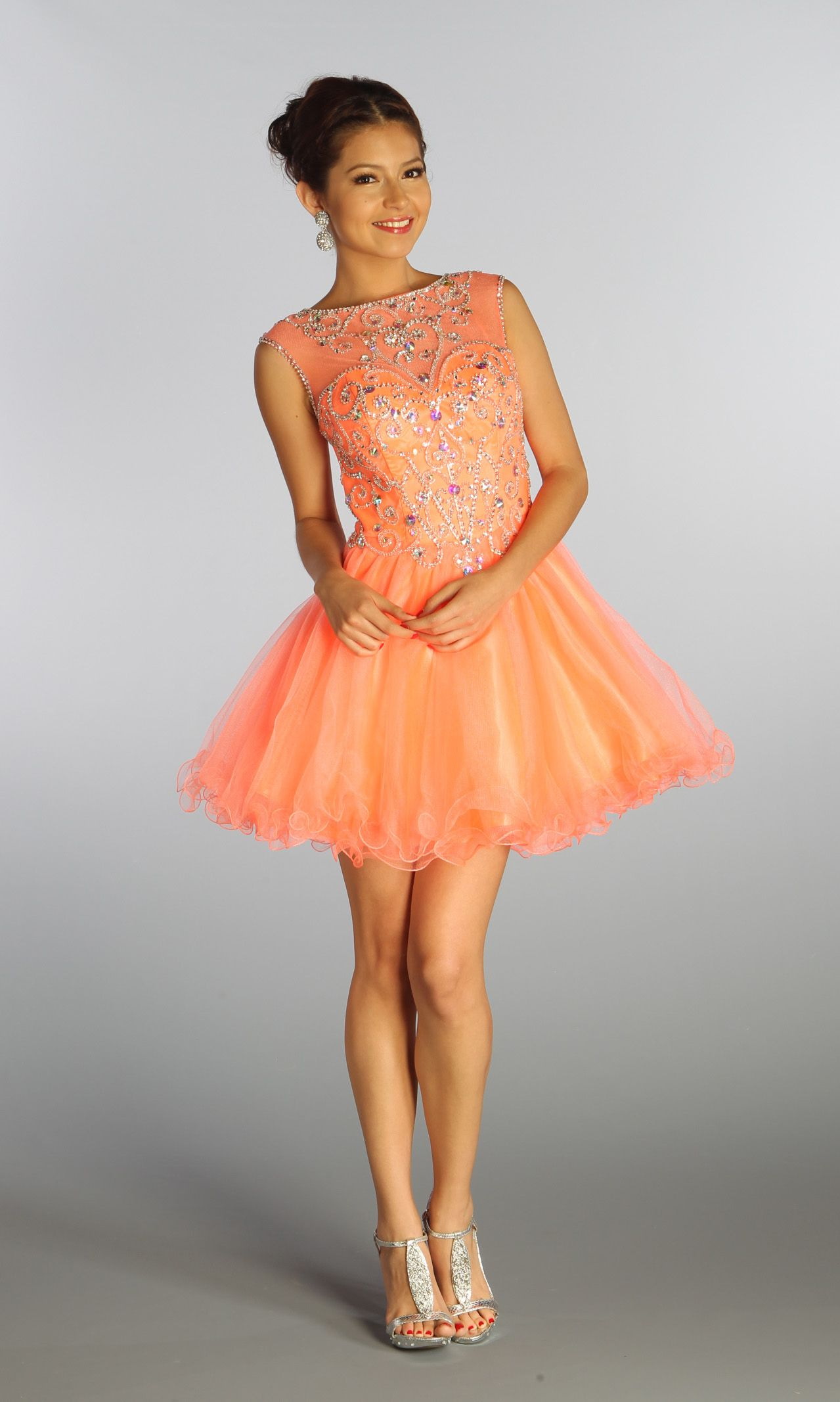 Short Mesh dress with beaded bodice and cap sleeves ...