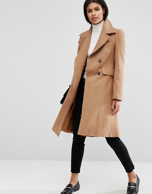 ASOS Wool Blend Skater Coat with Raw Edges