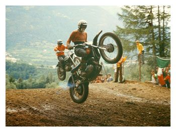 Vintage dirtbike racing out West.