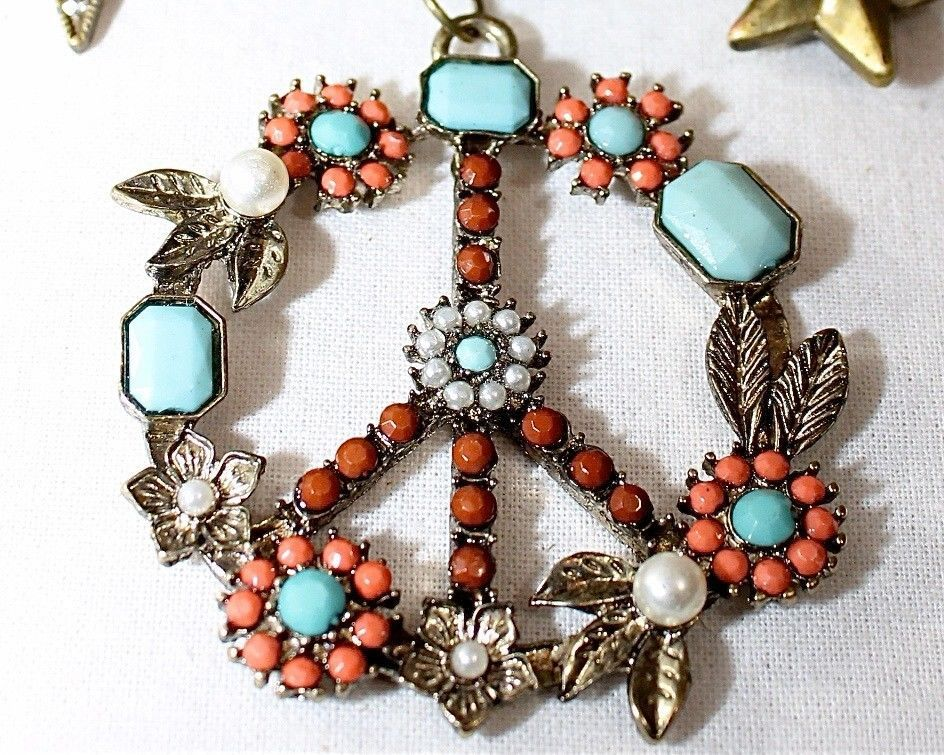 Gypsy Soul Jeweled Peace Sign Multi Charm Statement Large Necklace Turquoise | eBay