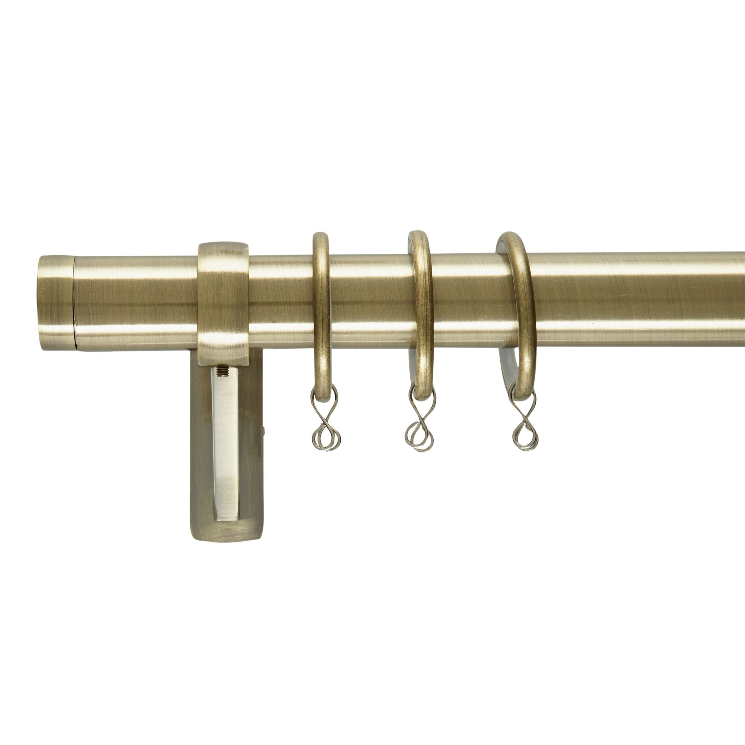 John Lewis Partners Antique Brass Curtain Pole Kit Long Stud