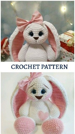 Photo of Crochet bunny pattern, personalized bunny crochet for baby. Amigurumi pattern in English