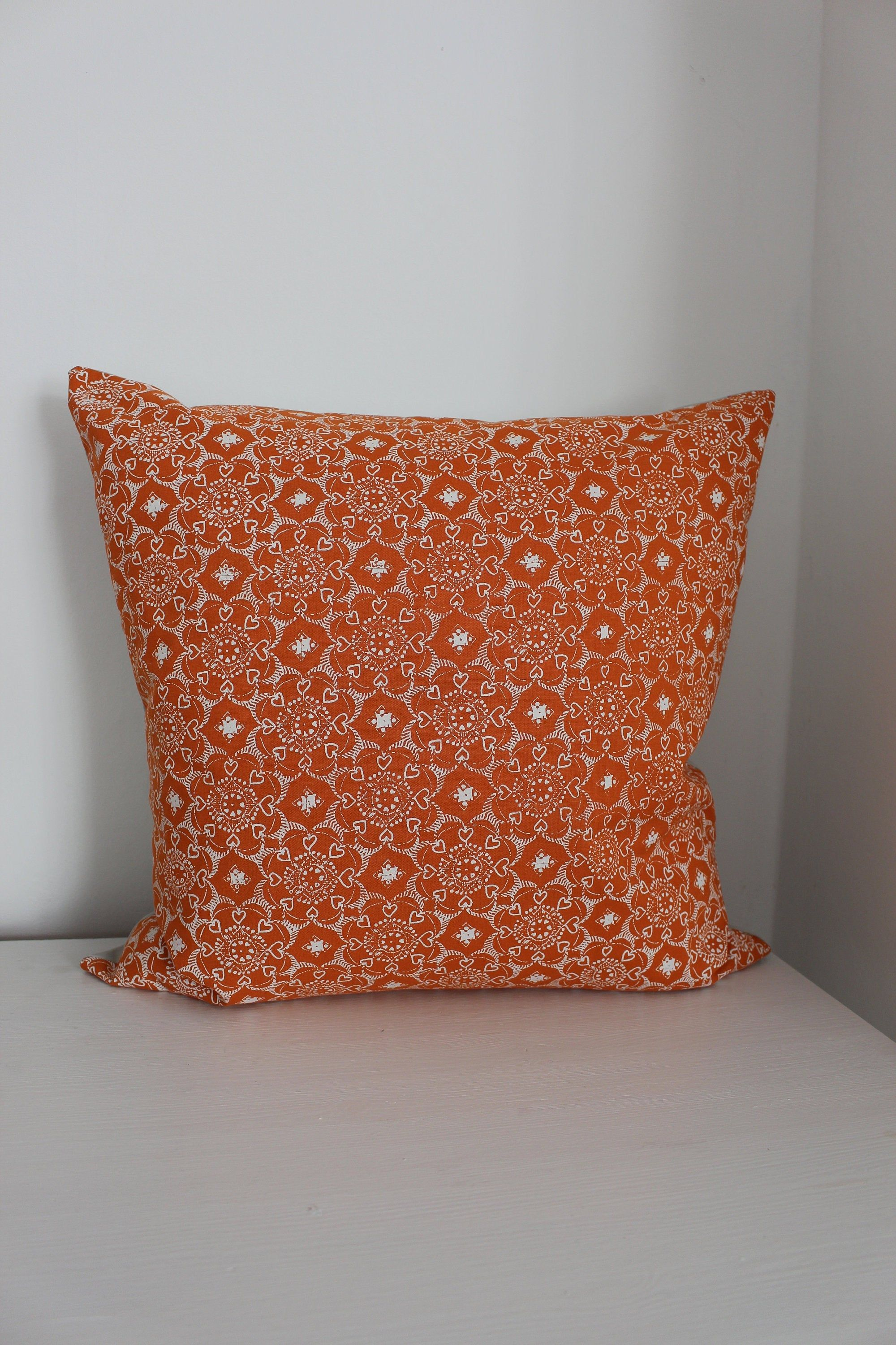 Cushion 50x50 Orange Cream Light Grey Boho Pillow Cover Mandala Mother S Day Artdeco Scandi Ornament Hygge Ornamental Pillow Sofa Pillow Hand Printed In 2020 Boho Pillows Boho Cushions Cotton Pillow Cases