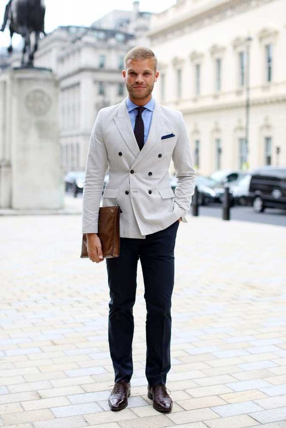 Click to Buy << New Beige Double Breasted Man Suit Navy Blue Pants ...