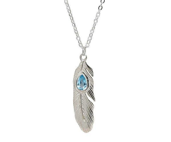 Sterling Silver Necklace with a Natural Blue Topaz Set in Feather Shaped Sterling Silver Pendant
