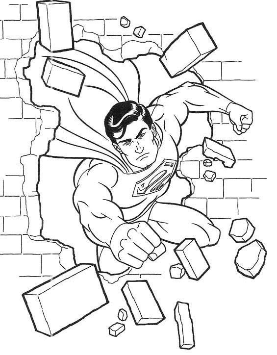 Superman Flying Through Wall Coloring Page ...