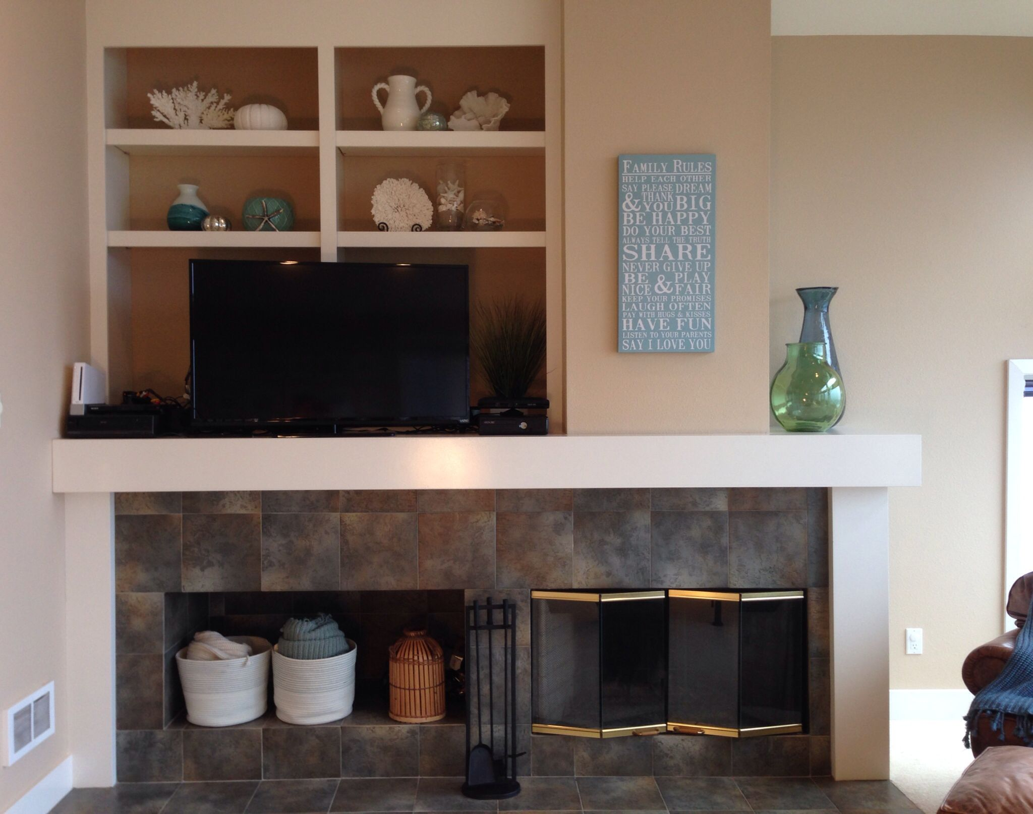 Mantle and entertainment center wall art from home goods white and