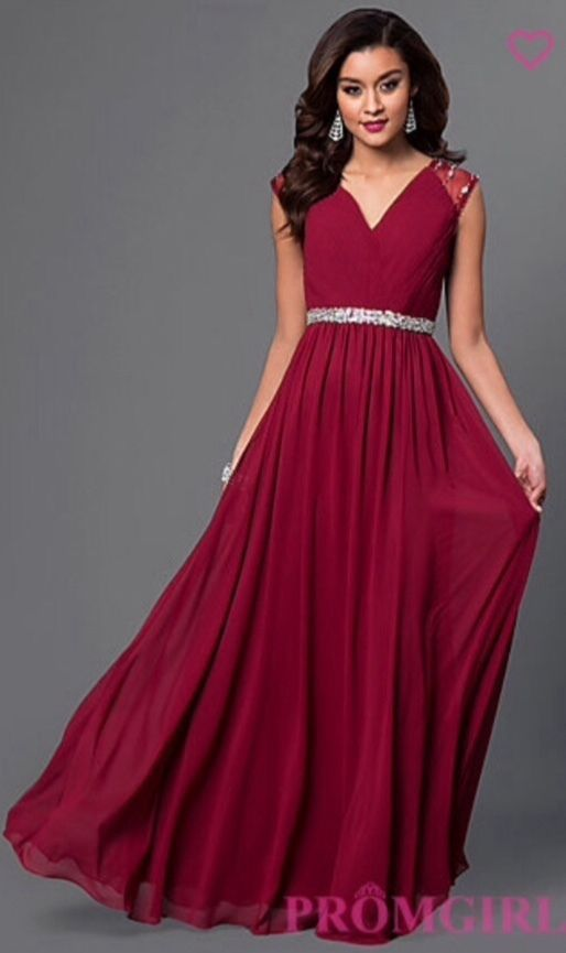 Dark Red Long Chiffon Bridesmaid Evening