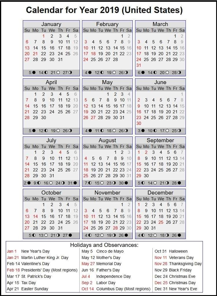 Download 2019 Usa Holiday Calendar With Full Moon 2019 Usa
