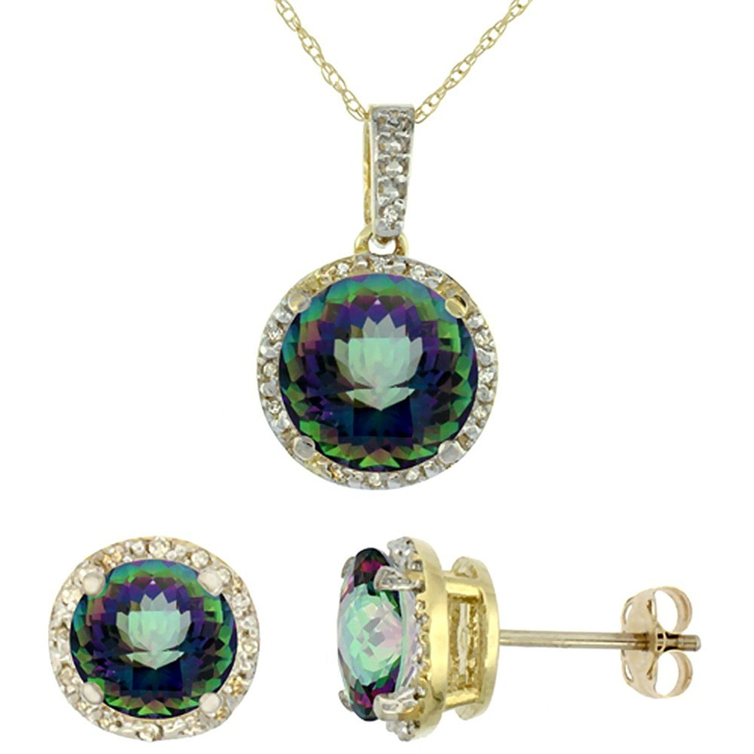 K yellow gold natural round mystic topaz earrings and pendant set