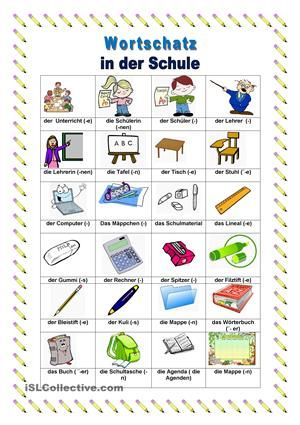 In der Schule | Duits | Pinterest | Worksheets