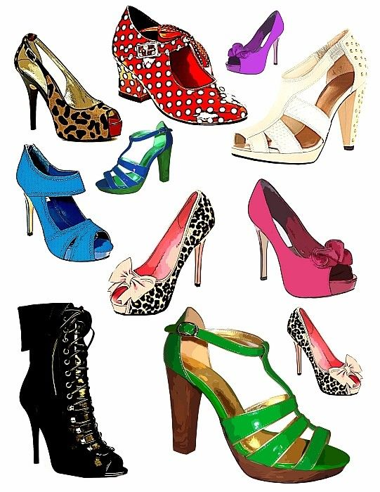 womens high heel shoes fashion clip art graphics digital