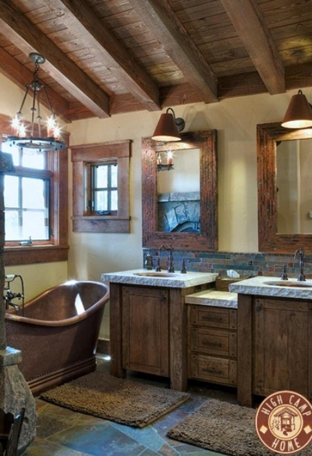 Classic Rustic Barn Bathroom With Double Wooden Vanity
