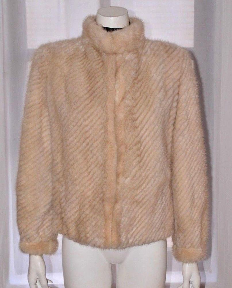 5d4178c0f3d3 VTG Off White Beige Real Genuine Mink Fur Coat Ribbed Patterned Jacket  Small S  Unbranded  FurJacket
