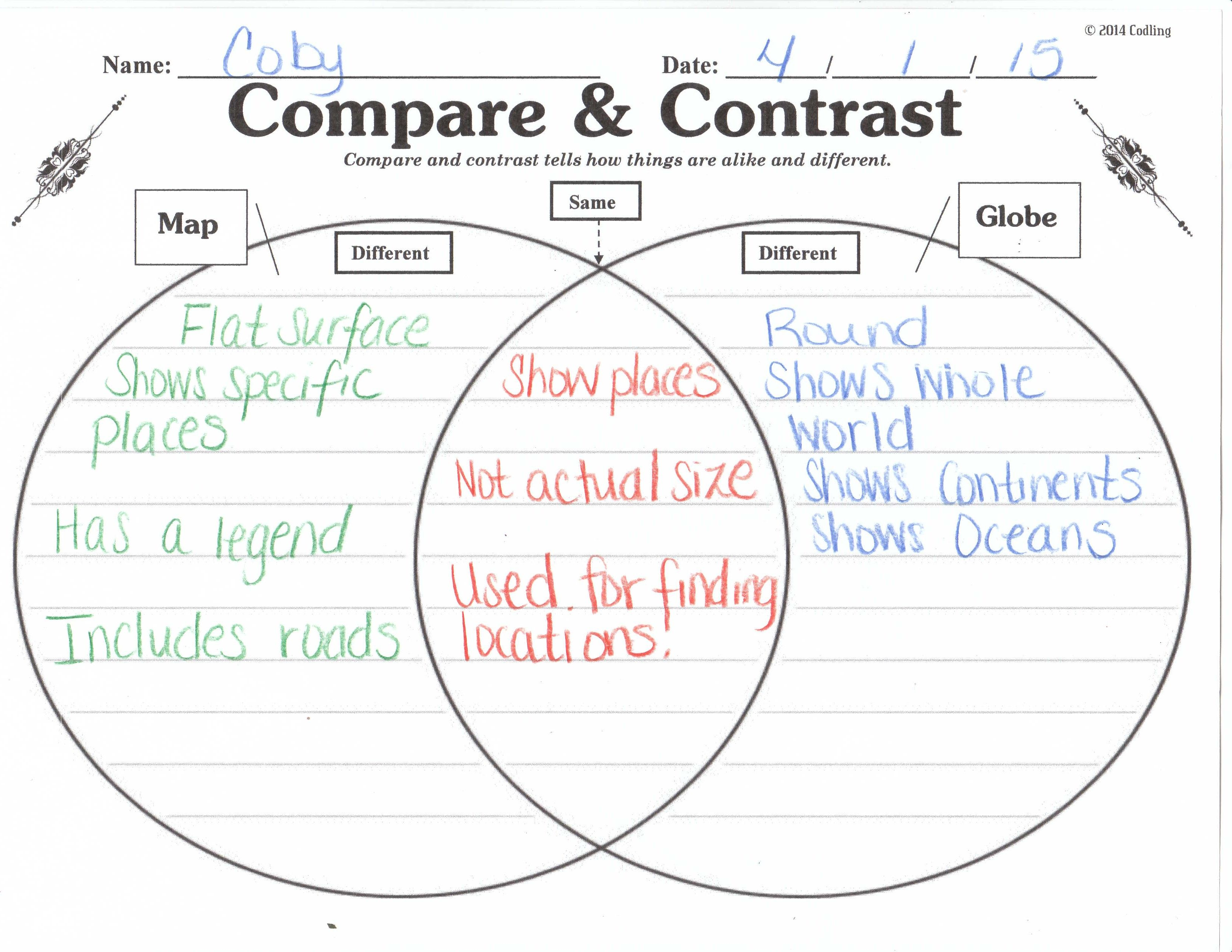 Compare \u0026 Constrast (Maps \u0026 Globes)   Kindergarten social studies [ 2550 x 3300 Pixel ]