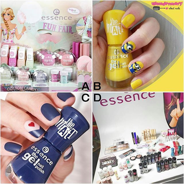 our most liked pics from last month. which one is your favourite? #essence #cosmetics #essencecosmetics #makeup #beauty #topposts #top4 #bestof #abcd #gelnailpolish #nailpolish #funfair #trendedition #thankyou #essencelove #longlastinglove #essenceupdate #heartnails #minions #essencevent
