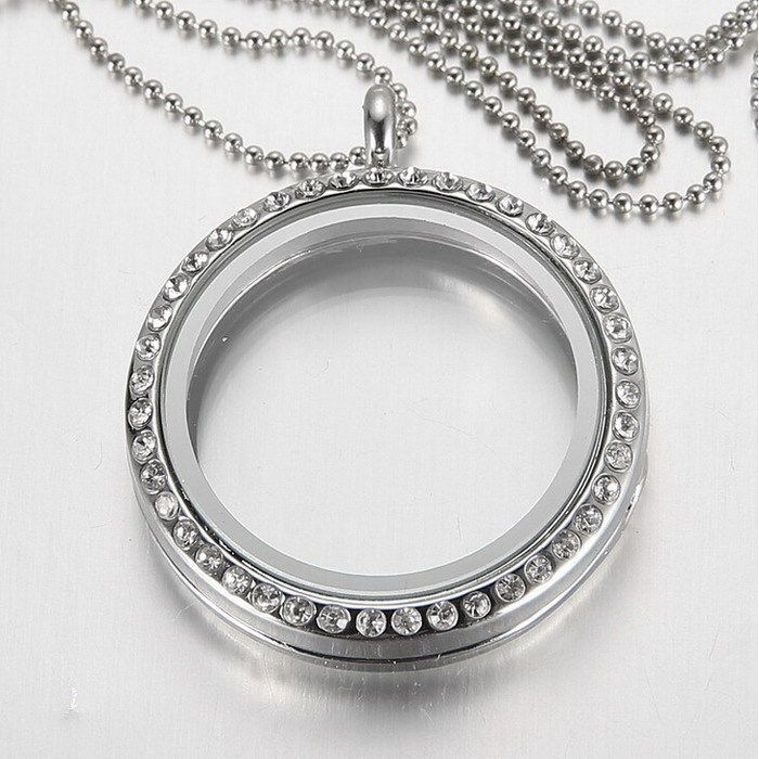 Free chains new fashion round crystal pendant silver rhinestone free chains new fashion round crystal pendant silver rhinestone floating locket memory living glass mozeypictures Gallery