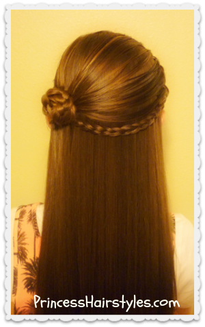 Half Up Rosette Braid And Headband Video Tutorial Princess - Girl hairstyle video