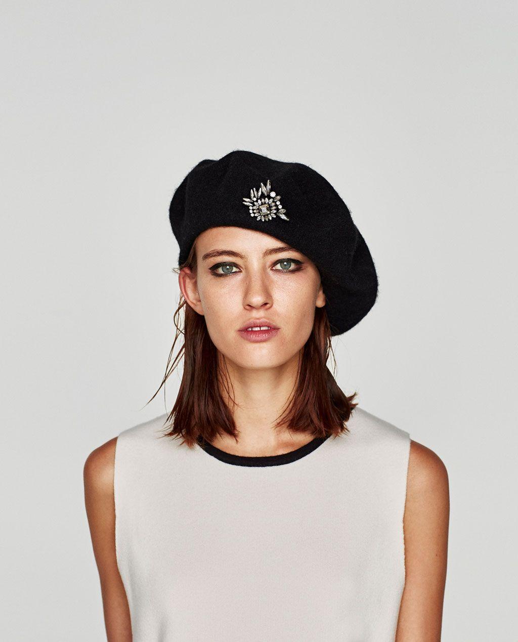 Beret With Brooch Hats Beanies Accessories Woman Zara United States Mode Hute Modestil Hut Frisuren