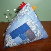 log cabin patchwork chicken with link for pattern