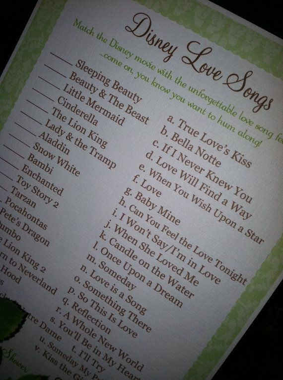 Baby Or Bridal Shower Game Match The Disney Movie With Its Love Song We Can Make A Playlist Of Songs Play Each And Have Guests Say Where