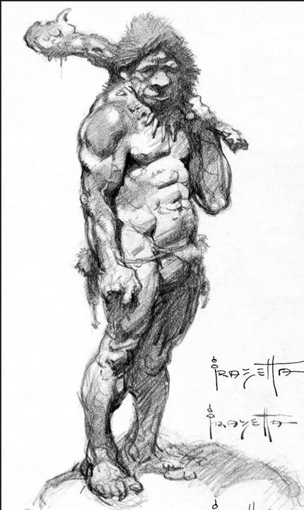 Caveman Sketch by Frank Frazetta | Great Drawings and Sketches ...
