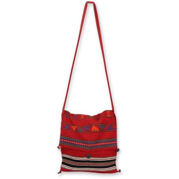 Novica Cotton shoulder bag, Floral Emblem