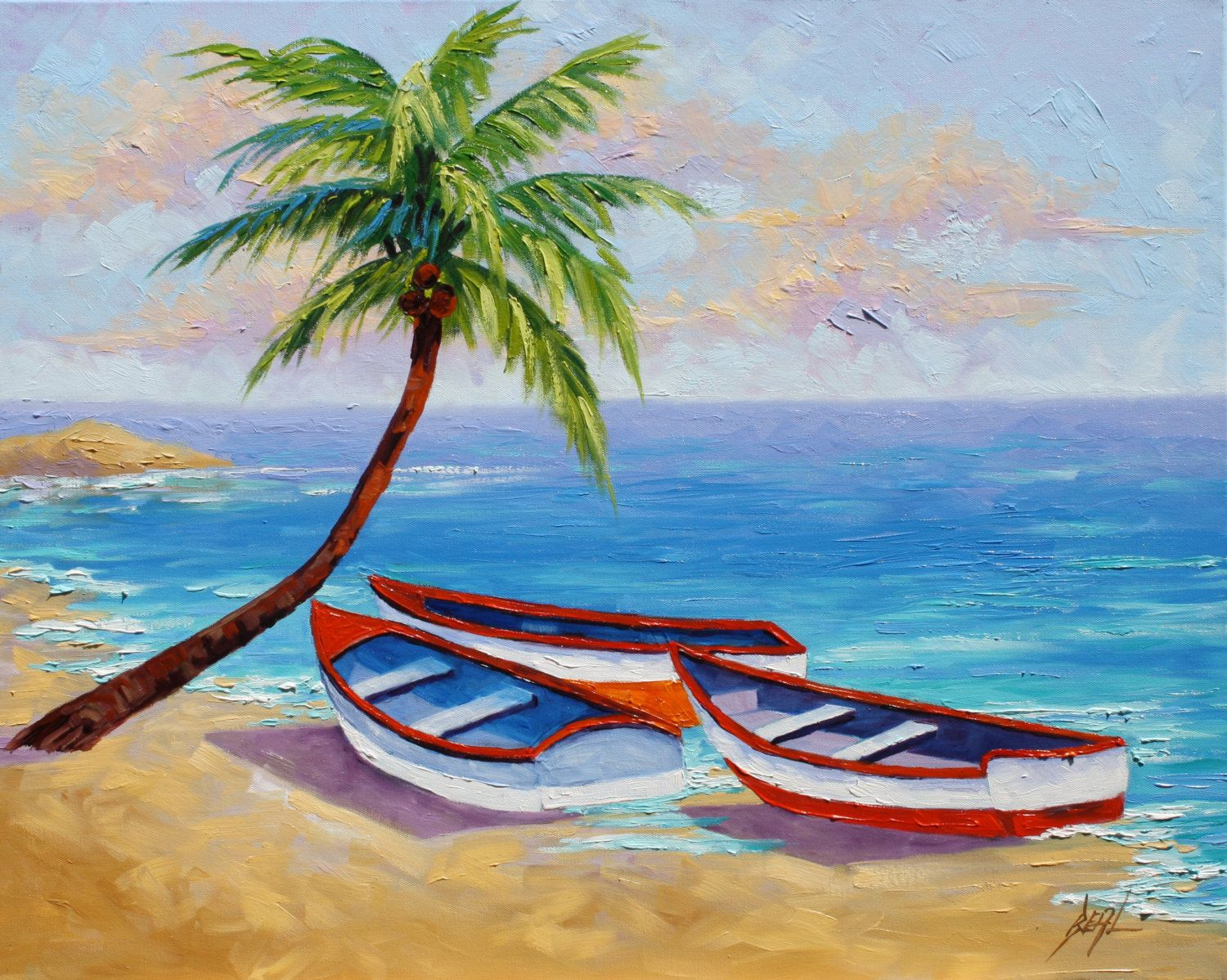 Boats Tropical Oil Painting Signed Canvas Landscape Art By Rebecca Beal Landscape Drawings Landscape Art Easy Landscape Paintings