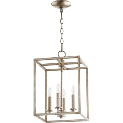 Photo of Canton 4-Light Rectangle Pendant Finish: Polished Nickel, Size: 17″ H x 11″ W x 11″ D