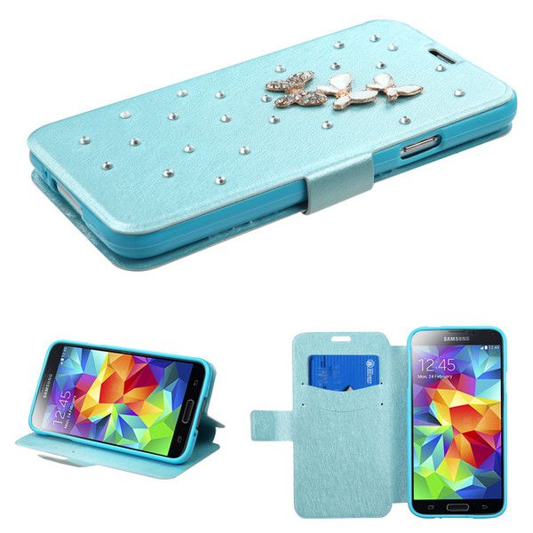 BOOK-STYLE SILK WALLET CASE FOR GALAXY S5 - BABY BLUE (BUTTERFLY) $14.95 #galaxys5case, #walletcase, #s5walletcase