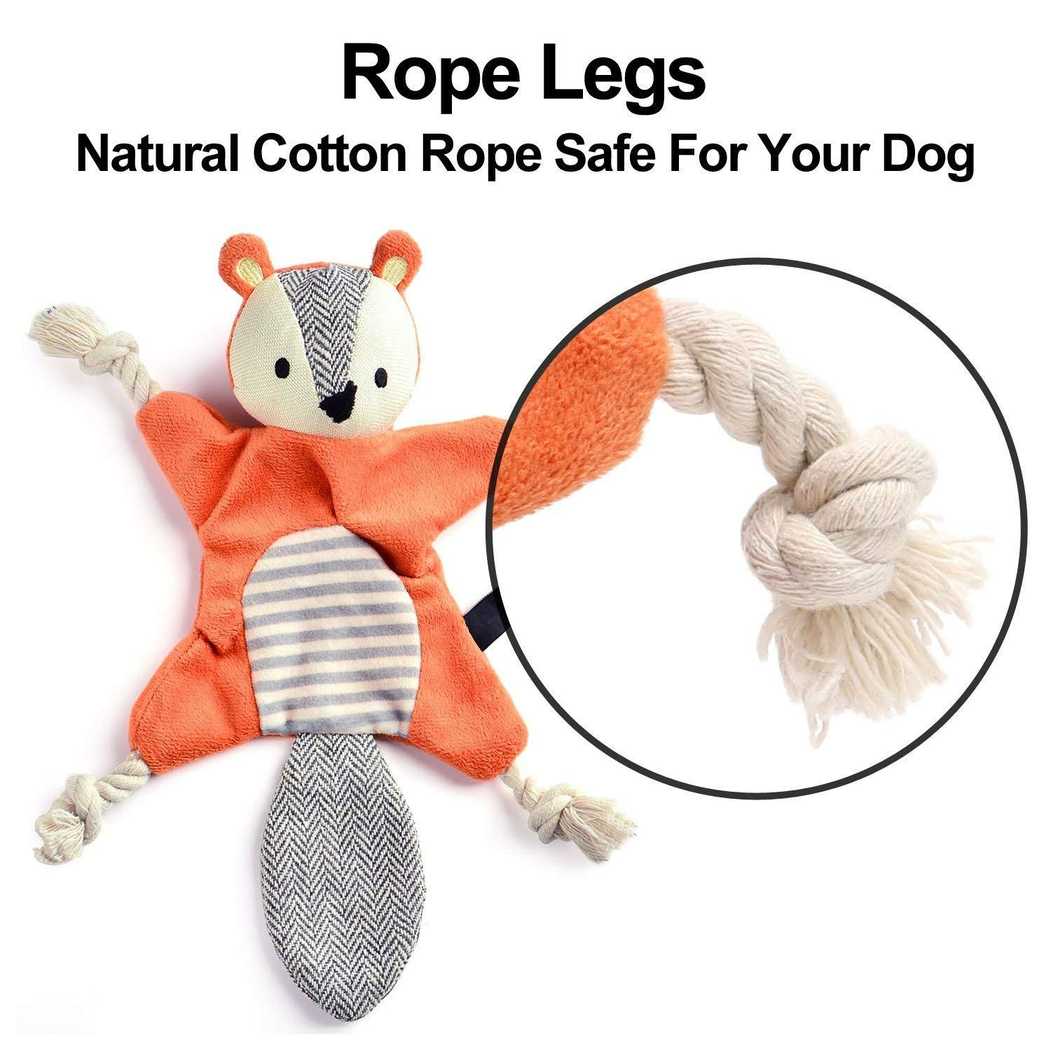 Vitscan Stuffless Dog Toys for Puppy, Crinkle Squeaky Dog Chew Toys Squirrel Plush Dog Toy with Rope Knots for Small Dogs (Squirrel) #ropeknots