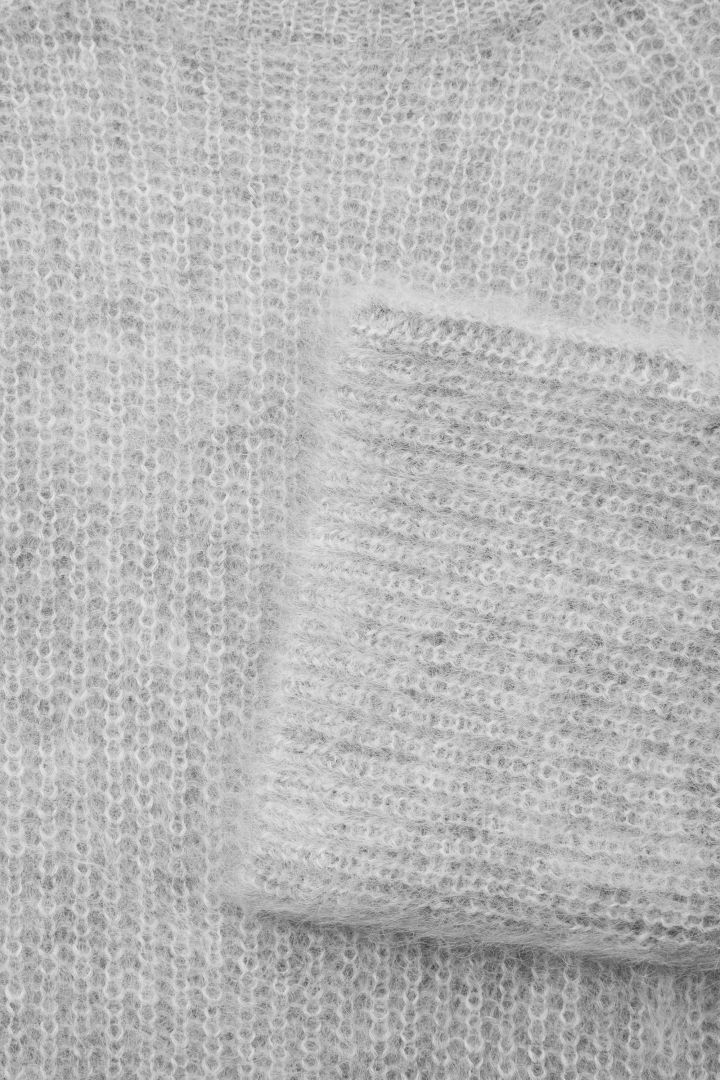 COS image 5 of Oversized high-neck jumper in Light grey