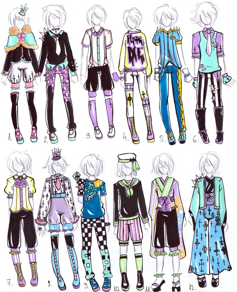 Montague Pastel goth, Anime outfits