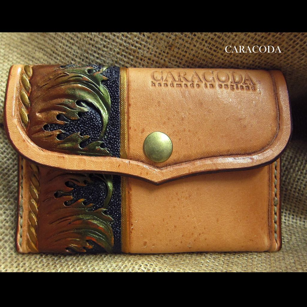 """Leather wallet """"Mini"""" hand carved, colored, stitched 2"""