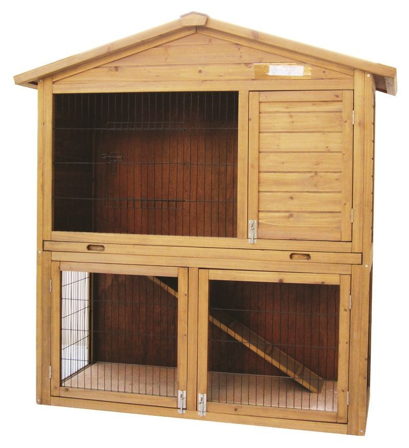 bunny hutches new tray cages elevated pawhut cage ramp enclosure wooden rabbit and yard story product w hutch