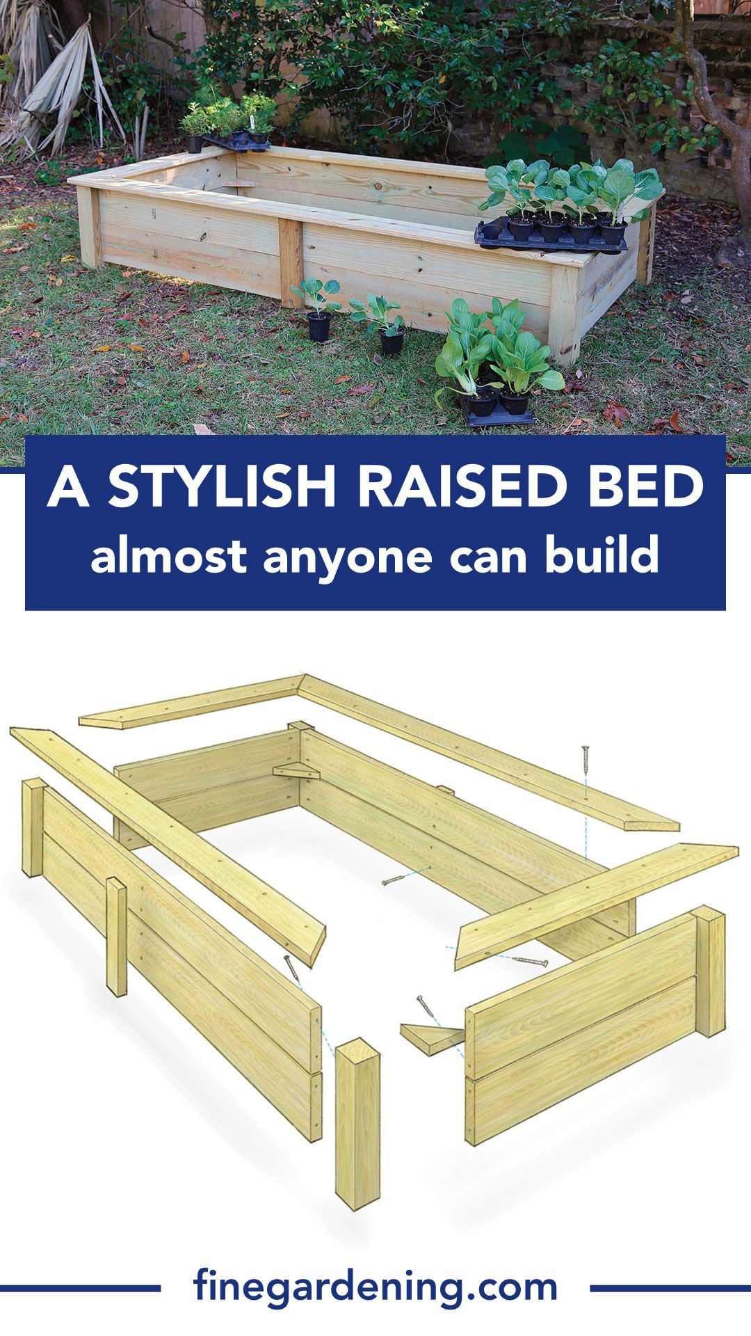 A Stylish Raised Bed Almost Anyone Can Build Finegardening Raised Garden Beds Diy Vegetables Raised Garden Beds Diy Building Raised Garden Beds
