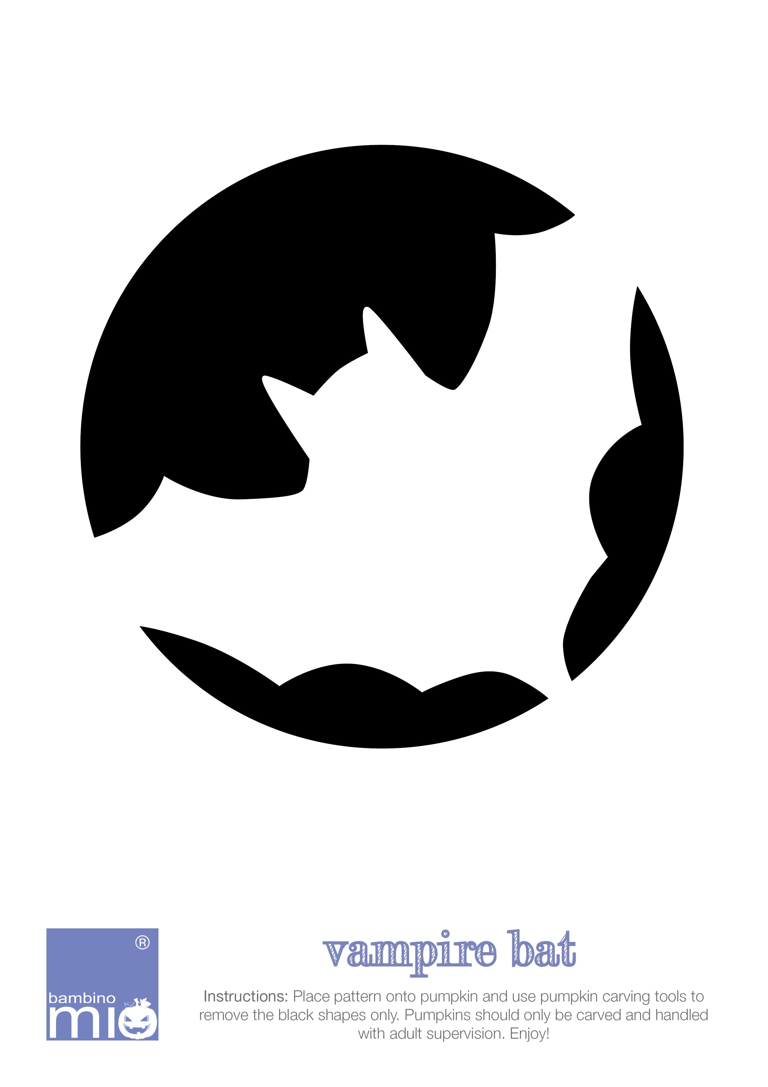 Vampire Bat Pumpkin Template