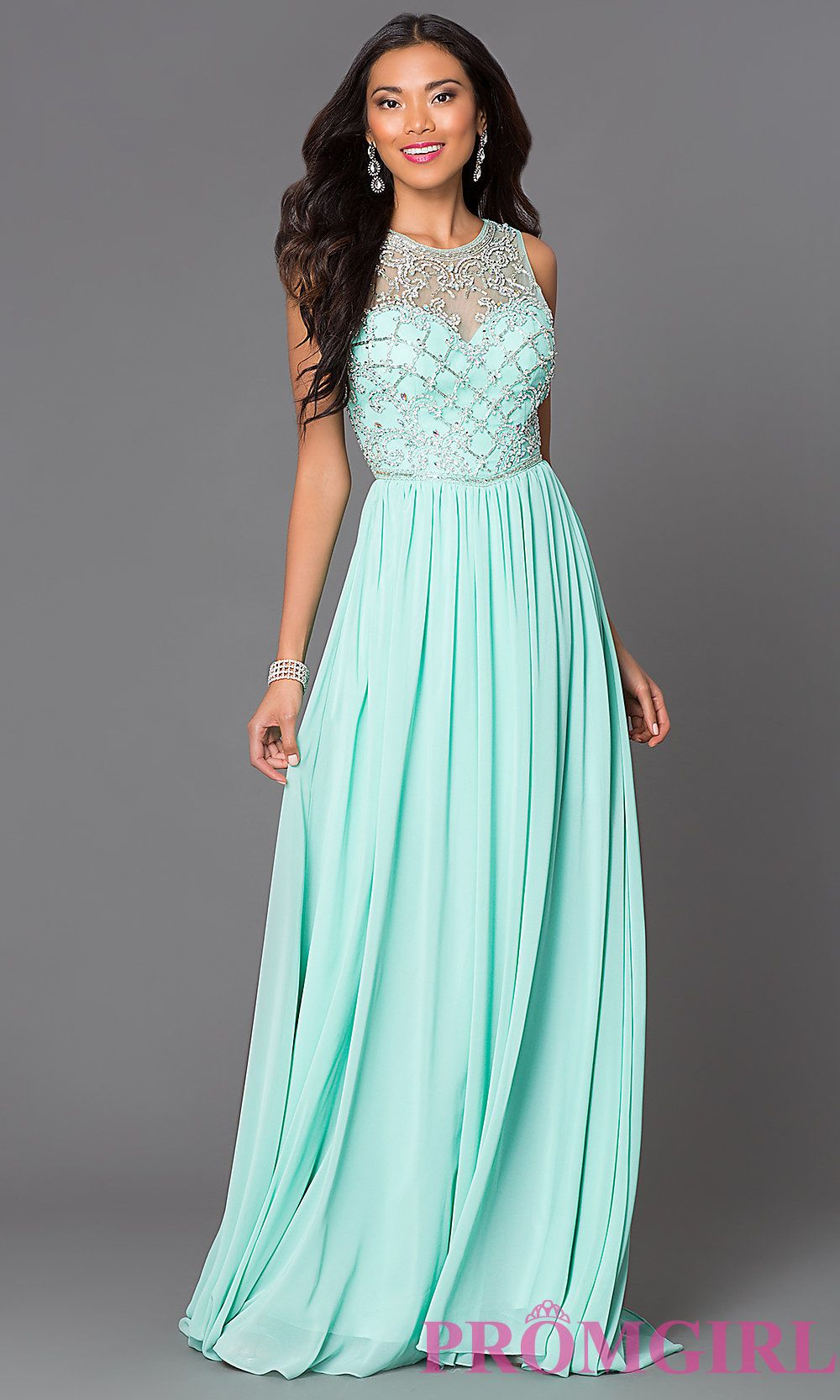 Image of long sheer beaded illusion bodice sleeveless gown Style: CD ...
